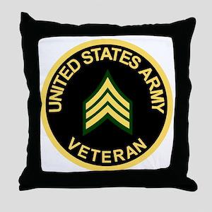 Army-Veteran-Sgt-Black Throw Pillow