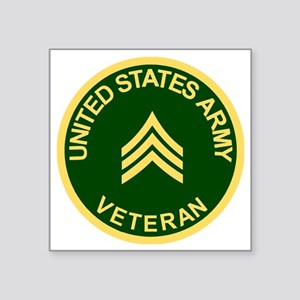 "Army-Veteran-Sgt-Green Square Sticker 3"" x 3"""