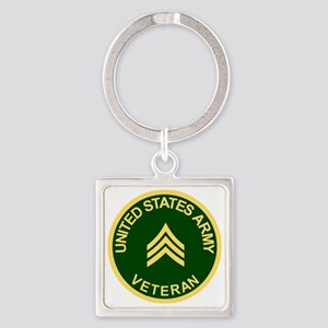 Army-Veteran-Sgt-Green Square Keychain