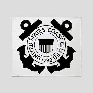 USCG-Logo-2-Black.g... Throw Blanket