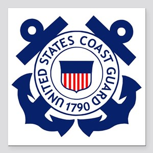 "USCG-Logo-2-Blue.gi... Square Car Magnet 3"" x 3"""