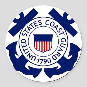 USCG-Logo-2-Blue.gi... Round Car Magnet