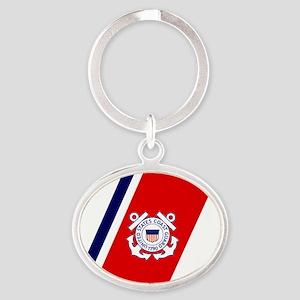USCG-Sticker2 Oval Keychain