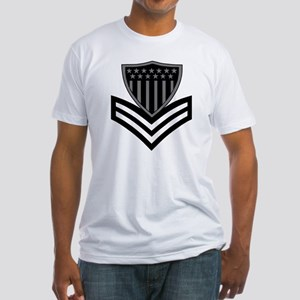 USCG-PO1-Pin-Subdued-X Fitted T-Shirt