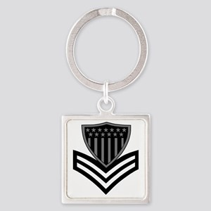 USCG-PO1-Pin-Subdued-X Square Keychain