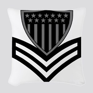 USCG-PO1-Pin-Subdued-X Woven Throw Pillow