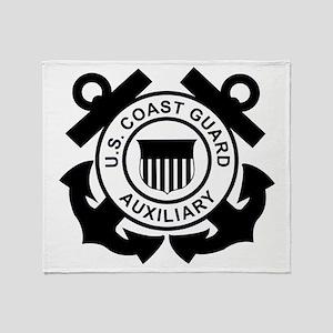 USCGAux-Logo-Black Throw Blanket