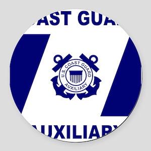 USCGAux-Flag-Shirt-1 Round Car Magnet