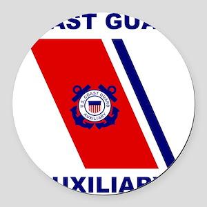 USCGAux-Racing-Stripe-Shirt Round Car Magnet