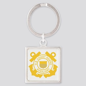 USCGAux-Black-Shirt Square Keychain