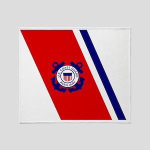 USCGAux-Racing-Stripe Throw Blanket
