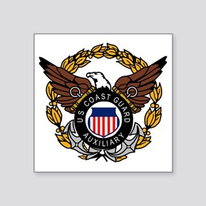 "USCGAux-Eagle-Colored Square Sticker 3"" x 3"""