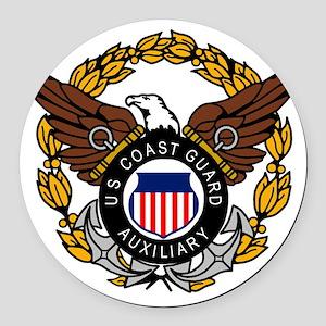 USCGAux-Eagle-Colored Round Car Magnet