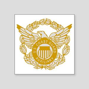 """USCGAux-Eagle-Silver Square Sticker 3"""" x 3"""""""