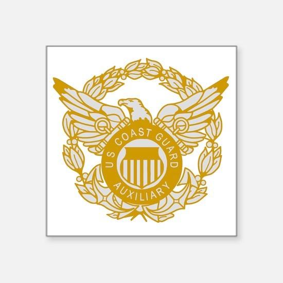 """USCGAux-Eagle-Silver.gif Square Sticker 3"""" x 3"""""""