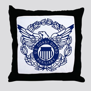 USCGAux-Eagle-Blue-X Throw Pillow