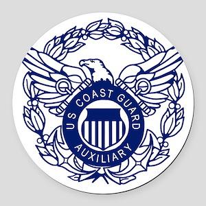 USCGAux-Eagle-Blue-X Round Car Magnet
