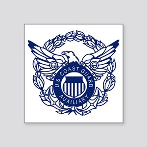 "USCGAux-Eagle-Blue-X Square Sticker 3"" x 3"""