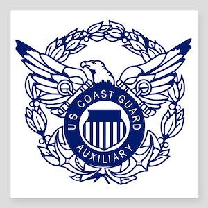 """USCGAux-Eagle-Blue-X Square Car Magnet 3"""" x 3"""""""