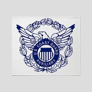 USCGAux-Eagle-Blue-X Throw Blanket
