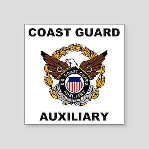 "USCGAux-Eagle-Shirt Square Sticker 3"" x 3"""
