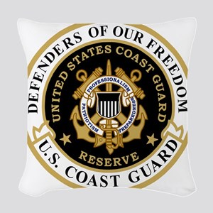 USCGR-Defenders-Shirt-Black-2. Woven Throw Pillow