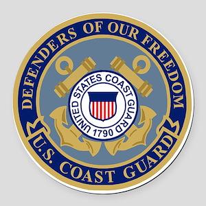 USCG-Defenders-Blue-Blue Round Car Magnet