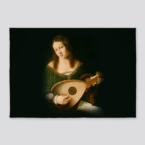 Veneto Lady Playing Lute 5'x7'Area Rug