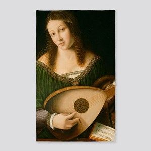 Veneto Lady Playing Lute 3'x5' Area Rug