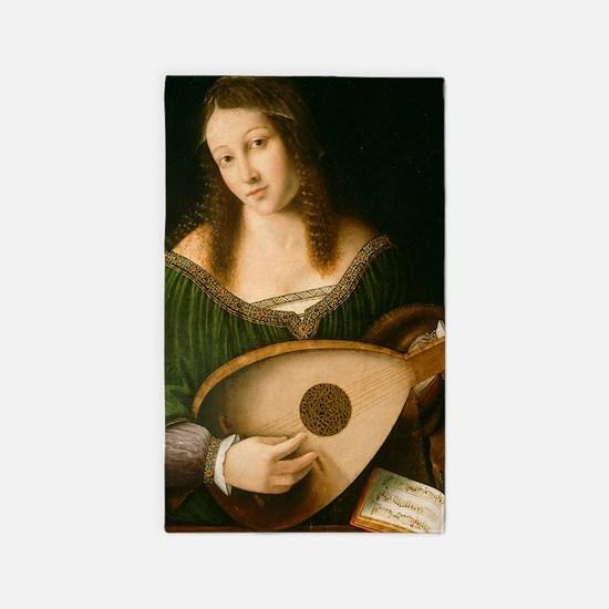 Veneto Lady Playing Lute 3'x5' Area Rug