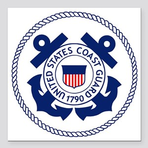 "USCG-Logo-3-Enlisted-X.g Square Car Magnet 3"" x 3"""
