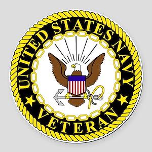 Navy-Veteran-Bonnie-2 Round Car Magnet