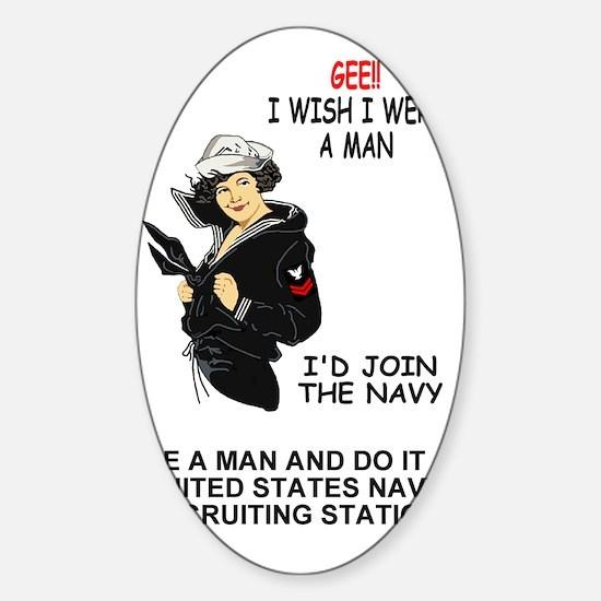 Navy-PO2-I-Wish-Poster.gif Sticker (Oval)
