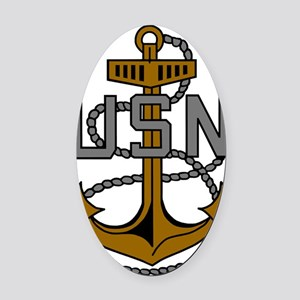 Navy-CPO-Anchor-Subdued.gif Oval Car Magnet