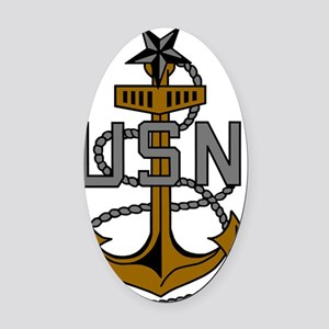 Navy-SCPO-Anchor-Subdued.gif Oval Car Magnet
