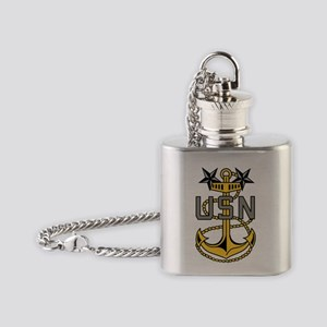 Navy-MCPO-Anchor-Bonnie-X Flask Necklace
