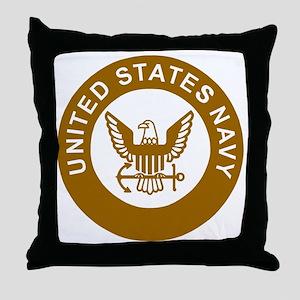 Navy-Logo-13-Brown Throw Pillow