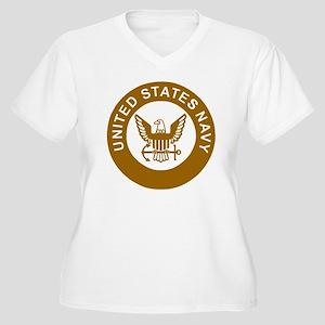 Navy-Logo-13-Brow Women's Plus Size V-Neck T-Shirt