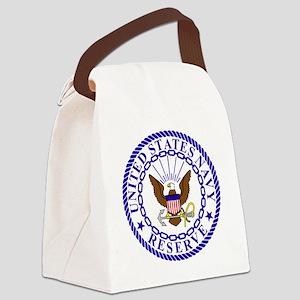 USNR-Logo-Bonnie-4-Blue Canvas Lunch Bag