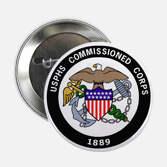 """USPHS-Commissioned-Corps-White.gif 2.25"""" Button"""