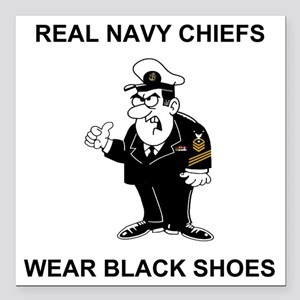 "Navy-Humor-Black-Shoes-C Square Car Magnet 3"" x 3"""