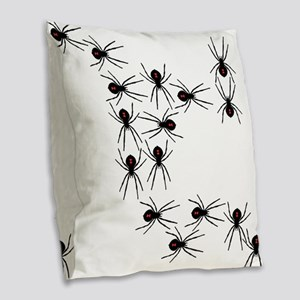 Creepy Crawly Spiders Burlap Throw Pillow