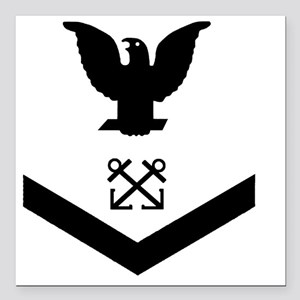 "Navy-BM3-Squared-Whites. Square Car Magnet 3"" x 3"""