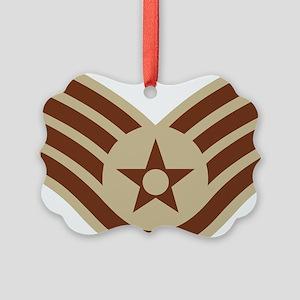 USAF-SSgt-Khaki-Squared Picture Ornament