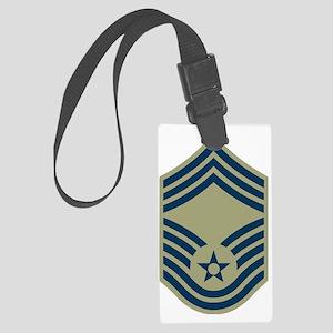 USAF-CMSgt-Black-Shirt-2 Large Luggage Tag