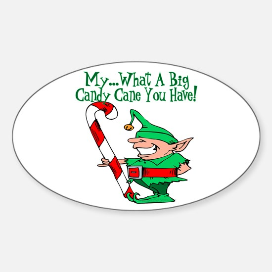 Candy Cane Elf Oval Decal