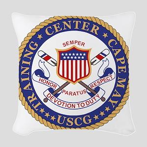 USCG-TraCen-Cape-May-Bonnie.gi Woven Throw Pillow
