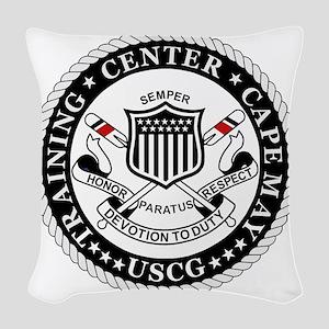 3-USCG-TraCen-Cape-May-Messeng Woven Throw Pillow
