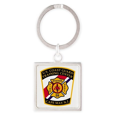 3-USCG-TRACEN-CpMy-Fire-Dept-Black Square Keychain