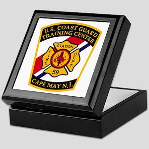 3-USCG-TRACEN-CpMy-Fire-Dept-Black-Sh Keepsake Box